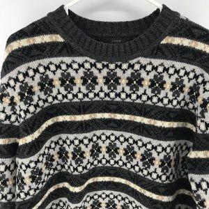 J Crew Classic Fair Isle Sweater 100% Lambs Wool